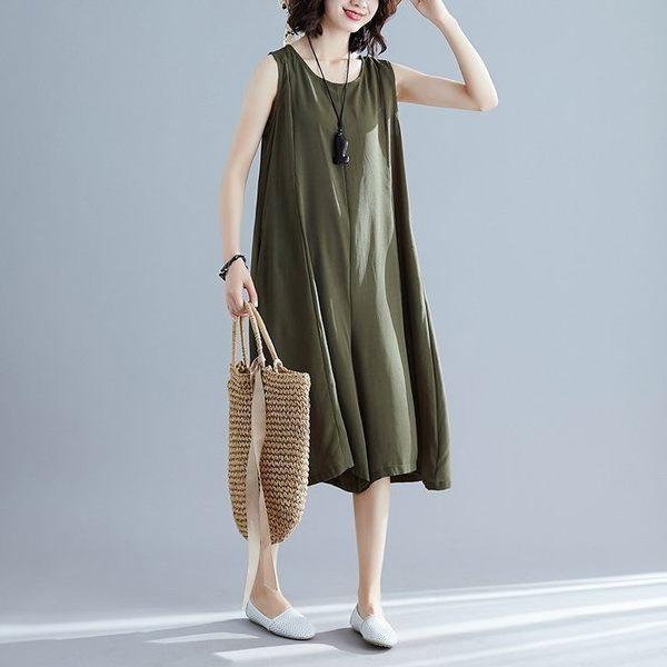 漂亮小媽咪 純色吊帶寬褲褲裙 【P7166】 素雅簡約 柔軟 輕薄 無袖 加大尺碼 連身裙 寬鬆