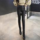 88柑仔店-秋季新款女裝高腰顯瘦塗層皮彈力修身薄款緊身皮褲小腳鉛筆打底褲   (A0237)