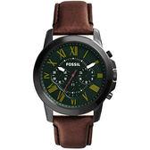 FOSSIL 古典伯爵三環計時腕錶-綠