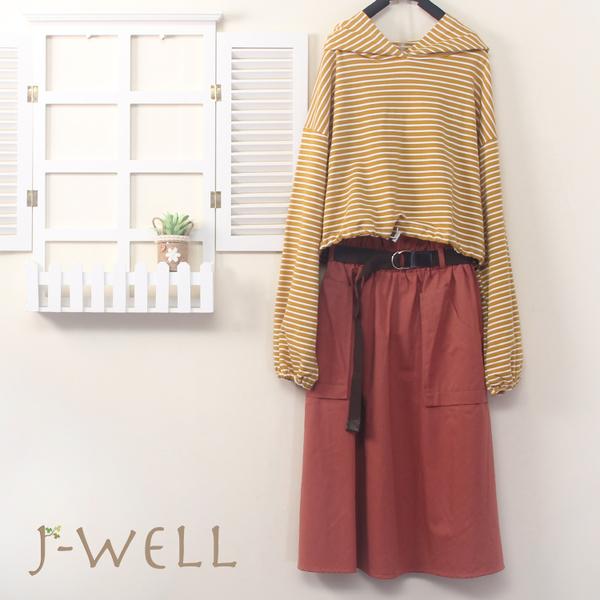 J-WELL 條紋連帽百搭T口袋裙二件組(組合B021 9J1035芥黃+9J1051粉)