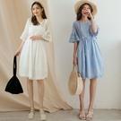 MIUSTAR 雕花蕾絲鏤空抽繩外罩洋裝(共2色)【NJ1815】預購