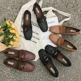 流行女鞋豆豆鞋女韓版復古方頭粗跟單鞋中跟金屬扣樂福鞋女鞋 優家小鋪