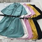 亞麻洋裝 連身裙女新款夏季韓版短袖休閒設計感工裝襯衫中長裙配腰帶 韓菲兒