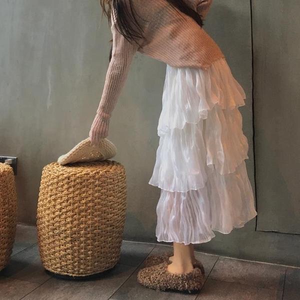 長裙 雪紡半身裙女春秋季蛋糕裙新款高腰顯瘦裙子仙女超仙森系長裙-一木一家