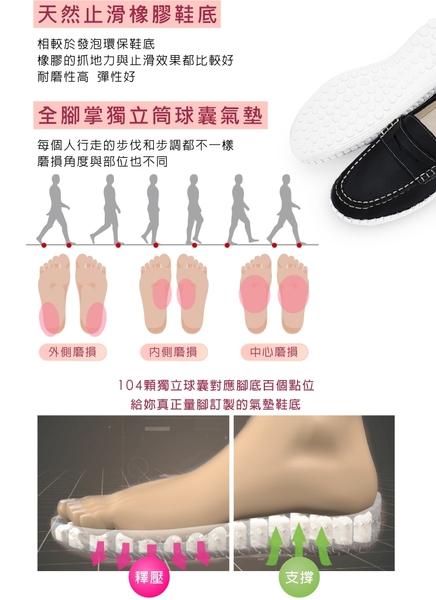 女鞋 休閒鞋 懶人鞋 樂福鞋 MIT台灣製 真皮鞋 經典款磁力厚底氣墊球囊鞋(百搭黑) Normady 諾曼地