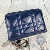BRAND楓月 Christian Dior 迪奧 藍色漆皮 藤格紋 風琴卡夾 卡片收納 造型卡夾