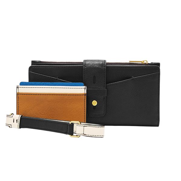 FOSSIL WILLA 扣帶造型含零錢匣手拿長夾-黑色 SL6335001