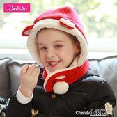 圍巾 笛莎女童圍巾冬季新款中大童立體耳朵連帽圍巾【小天使】