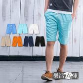 【88205】夏日百搭素面鬆緊抽繩彈力休閒短褲(共七色)● 樂活衣庫