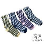 EASON SHOP(GU9709)實拍韓版簡約可愛撞色格紋花邊蕾絲拼接保暖中筒襪彈力貼身舒適格子棉襪紫色藍色