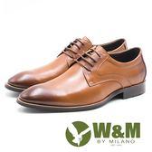 W&M  素色極簡綁帶男皮鞋-棕(另有黑)