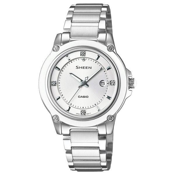 CASIO SHEEN系列 極簡典雅水晶鑽錶-白X銀