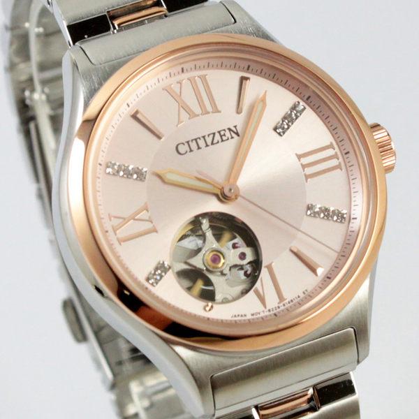 【萬年鐘錶】CITIZEN 日製機械錶 不鏽鋼半金 女錶   施華洛世奇水晶 PC1009-51W