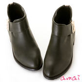 amai寬版皮帶釦飾拉鍊低跟踝靴 綠