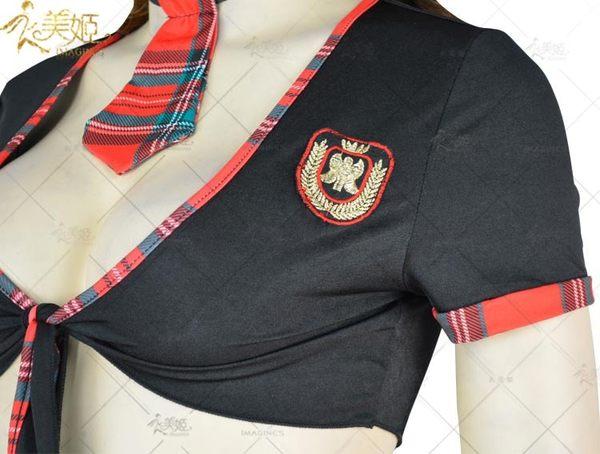 衣美姬♥學生制服 格子短裙+半身綁帶上衣 火辣款 遊戲制服 秘書角色扮演
