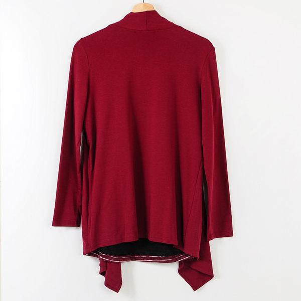 【MASTINA】假兩件式條紋上衣-紅 冬末好康