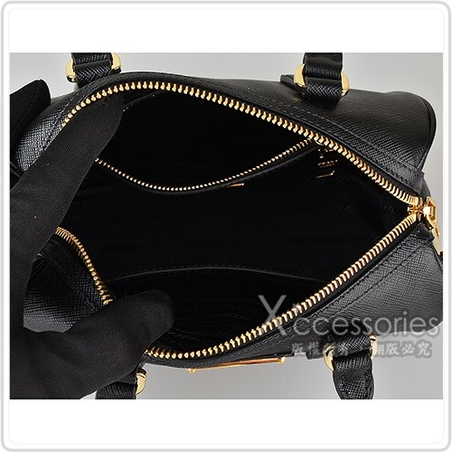 PRADA Saffiano金三角鐵牌LOGO 防刮牛皮拉鍊手提斜背波士頓包(黑/附小包)