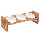 【寵愛家】職人木匠 可調式 斜面 寵物原木餐桌附瓷碗-三碗組