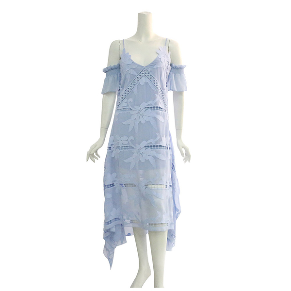 【self-portrait】天空藍細帶蕾絲開叉長洋裝 SP9001