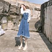 秋裝2020年新款女裝高端過膝設計感不規則連帽衛衣裙牛仔裙洋裝