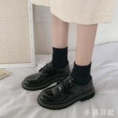 鞋子2020新款夏韓版百搭圓頭復古黑色ins小皮鞋學院風粗跟單鞋女 KP1272『小美日記』