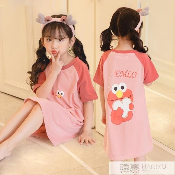 兒童睡裙短袖母女純棉夏季薄款中大童公主小女孩寶寶親子女童睡衣 夏季新品