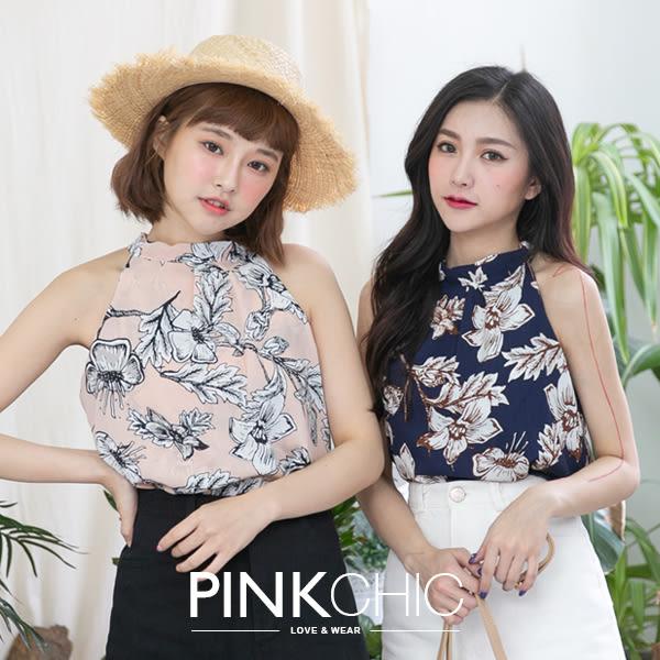 上衣 樹葉花削肩雪紡上衣 - PINK CHIC - 1388516