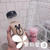 水杯  可愛韓國LINE雞布朗熊防摔塑料水杯創意時尚學生便攜網紅夏季杯子