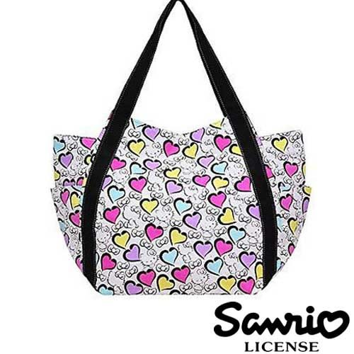 4001【日本正版】Hello Kitty X Dearisimo 帆布肩揹包 托特包 帆布包 手提袋 旅行袋 凱蒂貓 - 120649
