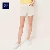 Gap女裝 休閒高腰口袋毛邊牛仔短褲 460092-水洗藍