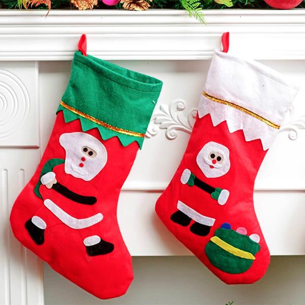 【BlueCat】不織布白綠色襪頭聖誕禮物襪 (大號)