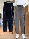女士工裝褲秋季新款寬鬆顯瘦高腰bf風束腿褲女小個子闊腿黑色工裝褲潮 快速出貨
