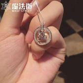 S925純銀水晶方鉆鎖骨頸項鏈女友圓圈吊墜簡約短款 魔法街