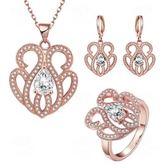 玫瑰金銀飾套裝含項鍊+耳環+戒指-閃耀水鑽生日情人節禮物女飾品2色73bv6【時尚巴黎】