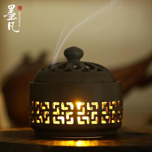 墨凡小夜燈陶瓷盤香爐創意檀香盤香爐家用室內香薰爐熏香供佛擺件 美眉新品