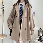 秋新款寬松版雙排扣卡其色西裝領學院少女風卡其色風衣中長款外套 快速出貨