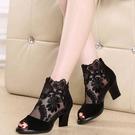 魚口鞋 魚嘴涼鞋女2021夏季新款韓版中跟百搭黑色蕾絲網紗女士媽媽高跟鞋