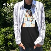 外套 細條紋襯衫外套 - PINK CHIC - 628061
