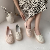 平底單鞋女夏款百搭時尚洞洞鏤空女鞋軟底護士鞋一腳蹬媽媽 伊芙莎