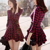 售完即止-修身長袖紅色格子氣質收腰秋冬款襯衫裙子春裝連身裙3-4(庫存清出T)