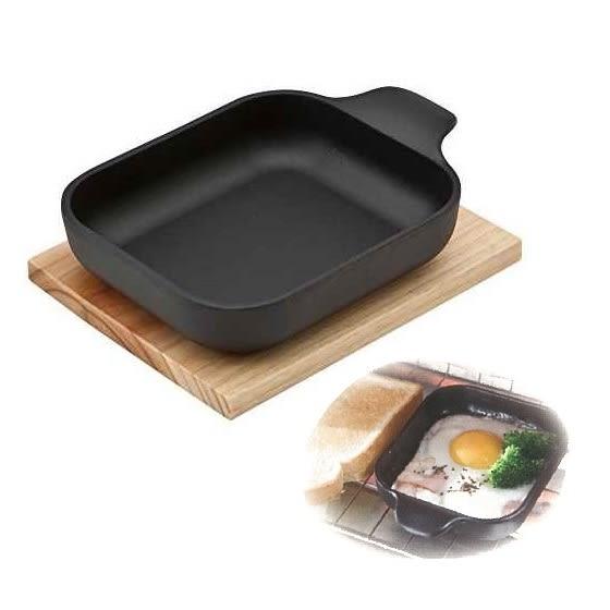 日本鑄鐵烤盤南部鐵器【池永】方型鑄鐵小烤盤附木墊 烤箱鐵盤 小鍋料理 個人焗烤小煎鍋