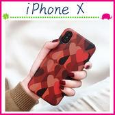 Apple iPhoneX 5.8吋 復古風背蓋 紅色愛心手機套 TPU保護套 全包邊手機殼 撞色保護殼 吊飾孔