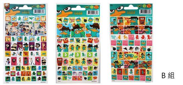 【卡漫城】Ferb B組 貼紙 ㊣版 飛哥與小佛 泰瑞 玩具總動員 ~ 3張組
