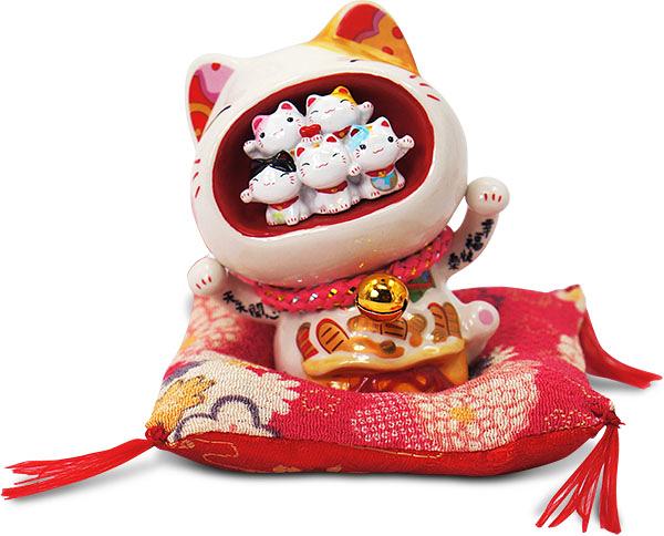 【金石工坊】天天開心圓滿貓(高9CM)招財貓 陶瓷開運桌上擺飾 撲滿存錢筒