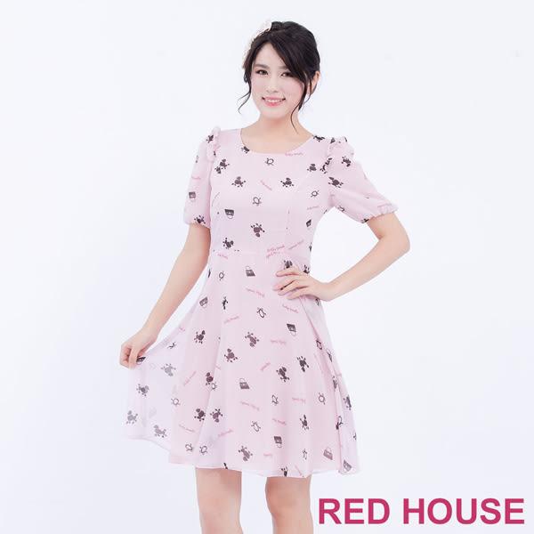 RED HOUSE-蕾赫斯-五分袖貴賓狗雪紡洋裝(共2色)