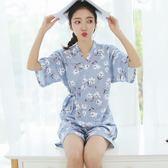 短袖韓版睡衣女夏日式學生V領純棉兩件套裝