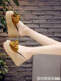一字拖女夏季時尚百搭蝴蝶結韓版鬆糕坡跟外穿防滑厚底高跟涼拖鞋 印象家品旗艦店