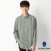 GLOBAL WORK男格紋方領下襬圓弧剪裁設計微長版長袖襯衫上衣-三色