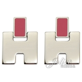 茱麗葉精品【全新現貨】 HERMES Eileen 經典H LOGO銀飾耳環.銀/桃
