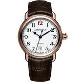 AEROWATCH 復刻紳士時尚機械腕錶-玫瑰金框x咖啡/40mm A60900RO15
